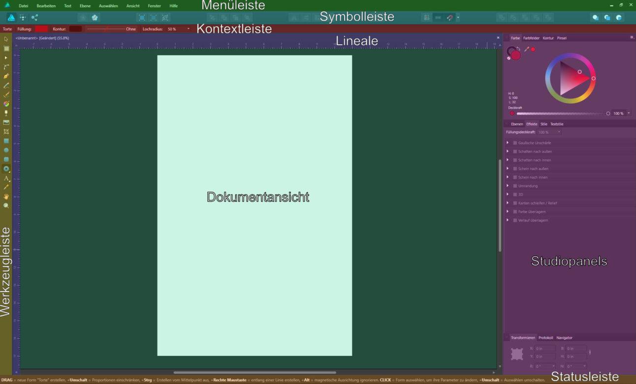 Affinity Designer - Benutzeroberfläche