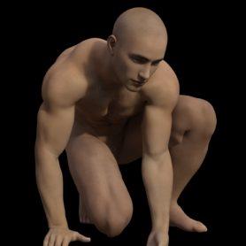 Erwachsener Menschen Mann muskulös  kniend
