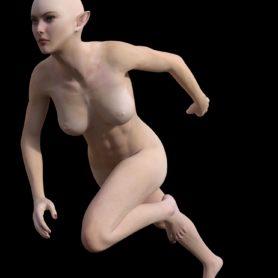 Erwachsene Elfen Frau schlank rennend