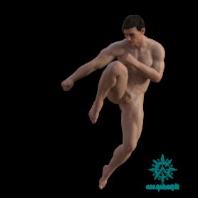 Erwachsener Menschen Mann muskulös springend