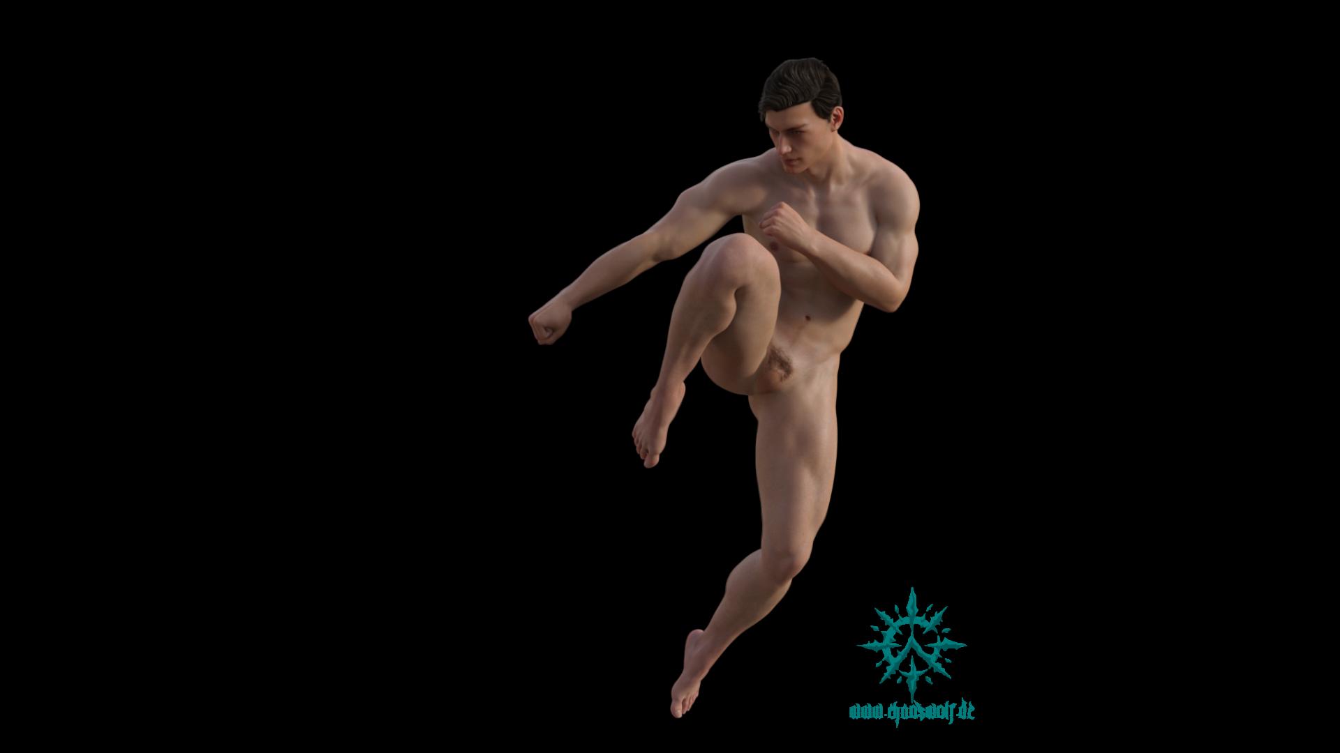Erwachsener Mann muskulös springend