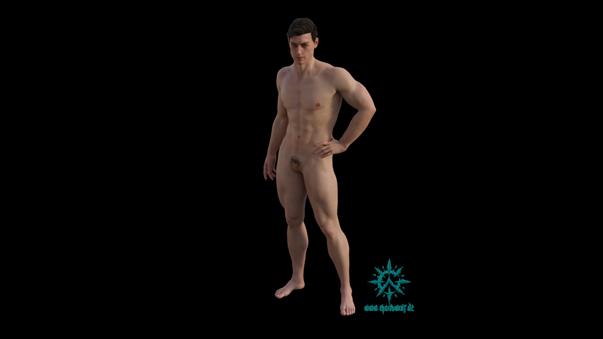 Erwachsener Mann muskulös stehend